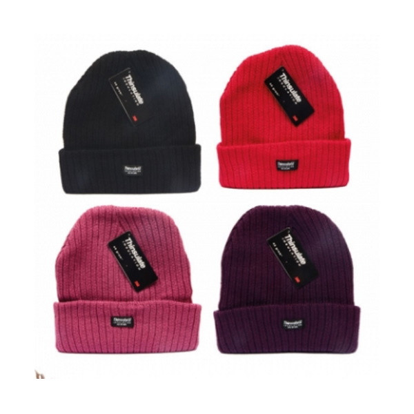 Chunky Knitted Beanie Hat (Ladies) (Various Colours)